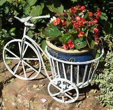 Retro Bicycle Patio Planter Plant Pot Holder Metal Blue Bird 40cm Tricycle New