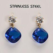 Stunning 14K Gold Stainless Steel Bermuda Blue Glass Rhinestones Dangle Earrings