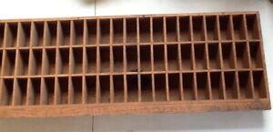 Wood Printers Blocks Tray Vintage 79cmx29cmx7cm Approx 3 Rows Of 20 Holes