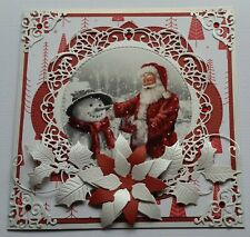 CHRISTMAS CARD - Poinsettia - Vintage Red Santa -  Die-Cuts - Rhinestones