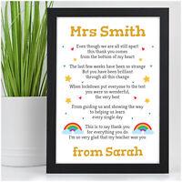 Lockdown Teacher Thank You Gifts PERSONALISED School Lockdown Rainbow Poem Gifts