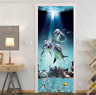 3D Sunshine Under Sea Dolphins Self Adhesive Living Room Door Sticker Wall Mural