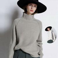 Luxury Women Cashmere Knitwear Jumper Turtleneck Pullover Sweater Tops Loose