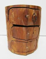 Wood Log Jewelry Storage Trinket Box Chest Rustic Hand Crafted 3 Drawer Vintage