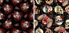 Vintage Steampunk Ornament Skulls Gothic Sugar Skull Print 4 Way Spandex Fabric