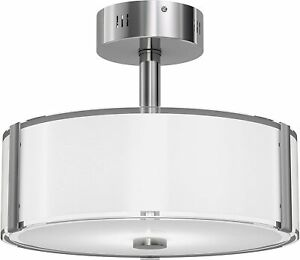 Artika, LED Semi Flush Mount, Dimmable Ceiling Light with a Glass Shade, Nickel