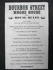 """(850)OLD WEST BROTHEL BOURBON STREET WHORE HOUSE RULES NOVELTY PUB POSTER 11x17"""""""