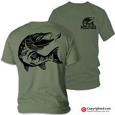 PIKE HUNTER (B) fishing carp perch barbel bass rod spinning olive t-shirt S-XXL