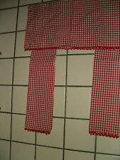Estate Red White Gingham Country Kitchen Rod Pocket Curtain And Valance