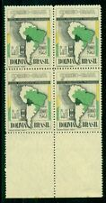BRAZIL #C49v 1.20cr Airmail Block of 4 RED COLOR OMITTED ERROR, og, NH, VF
