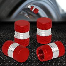 4 X ALUMINUM TIRE/RIM VALVE/WHEEL AIR PORT DUST COVER STEMS CAP CAPS RED/SILVER