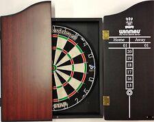 PRO STAR Micro Wire Dart board SET With Winmau Rosewood Dart Cabinet 6 Darts
