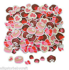 "50 Foam Valentine Chocolate Candy Cake Cookies Stickers Shapes 1.25 - 2"" Abcraft"