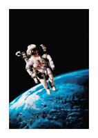 Astronaut on the Moon in Space DIGITAL Counted Cross-Stitch Pattern Needlepoint