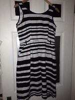 Races? linen tailored Black and White Stripe Dress,size 12 Florence and Fred