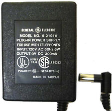 GENERAL ELECTRIC GE AC ADAPTER/POWER SUPPLY 9VDC 300MA  Model 5-2191A