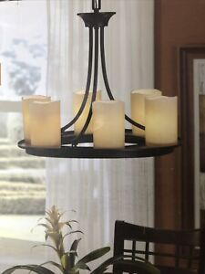 allen + roth Harpwell 6 Light Chandelier Oil Rubbed Bronze Tea Stained Glass