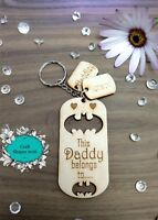 Personalised Wooden Keyring, Daddy, Dad, Grandad, Family, Gifts, Fathers day