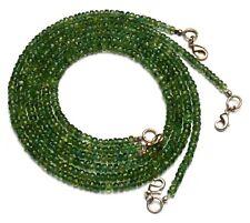 "Natural Gem Bottle Green Apatite 4MM Size Faceted Rondelle Beads Necklace 17"""