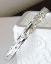 "Textured Slip on Bangle Bracelet 7.5"" Vintage Signed Sterling Silver Diamond Cut"