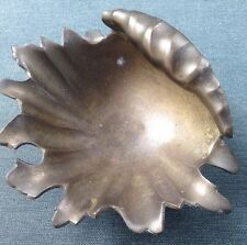 Vintage Soap Dish / Brass Scallop Seashell Design Soap Dish Vintage