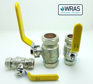 Yellow Lever Ball Valve Gas 15mm, 22mm, 28mm Full Flow Isolation WRAS Approved