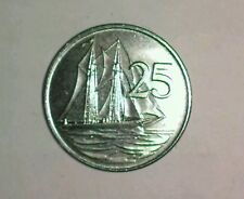 1992 CAYMAN ISLANDS 25 CENTS KM-90a XF+  SCHOONER (10 ITEMS W/DEL CON $3.61 USA)
