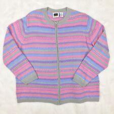 Vintage Pastel Fairy Kei Kawaii Sweater Womens Plus Size 1X Pink Purple Sparkle