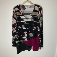 Dana Buchman Women's Tunic Top Size XL Long Sleeves V-Neck Casual Work Career