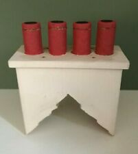 WOODEN DOLLS HOUSE CHIMNEY WITH FOUR RED CHIMNEY POTS FREE POSTAGE