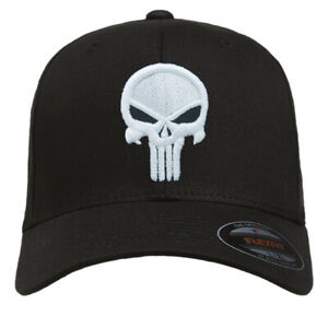 NEW Punisher Puff Embroidered FlexFit # 5001 Black Hat - Free Shipping!!