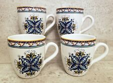 4 Williams Sonoma Mediterranean coffee mugs Italy  NEW UNUSED