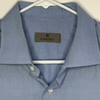 Canali Mens Designer Shirt LS Blue 17.5