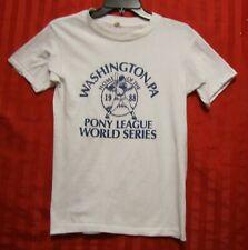 Child's Basebal Pony League 1988 World Series Vintage TShirt White Blue Size M/L