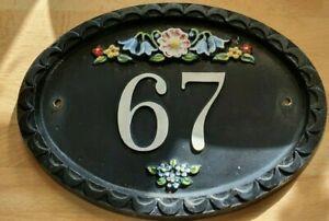 Cast Iron Door Plaque Sign Number 67