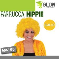 PARRUCCA HIPPIE GIALLO anni 50 60 grease afro neri jimmy riccioli costumi 33628
