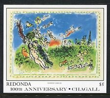 Redonda  MNH 100th Ann of the Birth Marc Chagall Paintings 1986 x19579