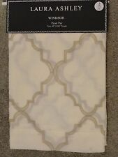 Laura Ashley Ivory Cream Tan Windsor Window Panels Drapes Set 2 NEW 40x84