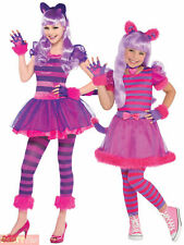 Girls Cheshire Cat Costume Child Alice In Wonderland Fancy Dress Book Day Teen