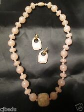 "VINTAGE AVON*TOUCH OF SPRING NECKLACE & EARRINGS SET*PINK*  20""L*NEW*1989*"