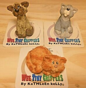 Lot of 3 Wee Tiny Critters Kathleen Kelly Encore Orange Tabby, Grey Cat, Siamese