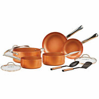 10-Piece Ceramic Coating Infused Copper Induction Non Stick Cookware Set Skillet