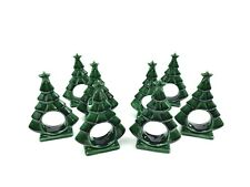New listing 8 Vintage Ceramic Holiday Christmas Tree Napkin Rings Holder Retro Decor