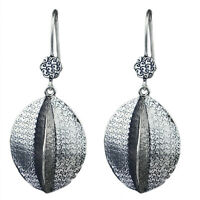 925 Sterling Oxidized Silver Plated Dangle Earrings Jewelry 13.73g c
