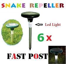 6 X Snake Repeller Solar Powered Panel LED Light Pest Multi Pulse Energiser