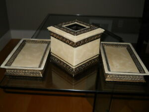 2 Hamilton Trays & Tissue Cover, Gorgeous Set Natural Marble Bronze - India Ink