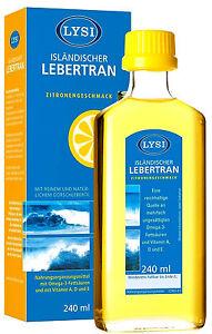 1x LYSI ISLÄNDISCHER LEBERTRAN mit Vit. A, D & E, Zitronenaroma 240 ml