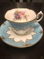 Vintage 1960s Paragon Turquoise Embossed Floral Teacup Saucer A2255 Gold Gilt