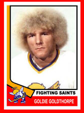 GOLDIE GOLDTHORPE Hockey Card Style Fridge Magnet Fighting Saints WHA Tough Guy