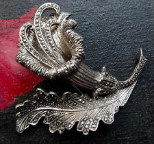 "exotic lily flower brooch 50s -C80 vintage 3D 2.2"" solid 800 Silver marcasite"